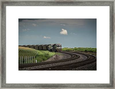 Norfolk Southern Railroad 7627 And 9825 At Princeton In Framed Print by Jim Pearson