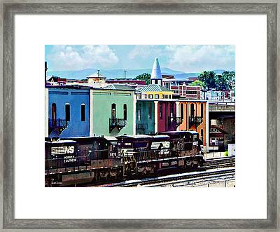 Norfolk Va - Train With Two Locomotives Framed Print
