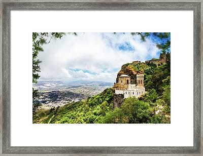 Norman Castle On Mount Erice - Sicily Italy Framed Print
