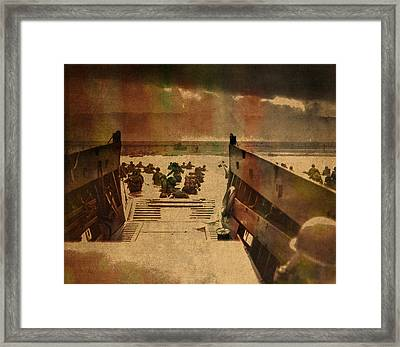 Normandy Beach On Dday World War Two Watercolor Tinted Historical Photograph On Worn Canvas Framed Print