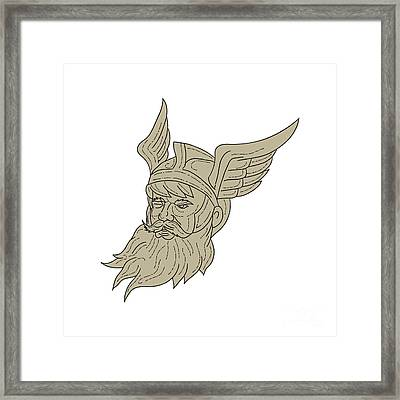 Norse God Odin Head Drawing Framed Print