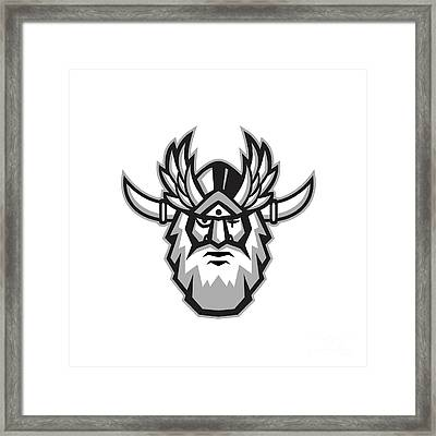 Norse God Odin Head Retro Framed Print