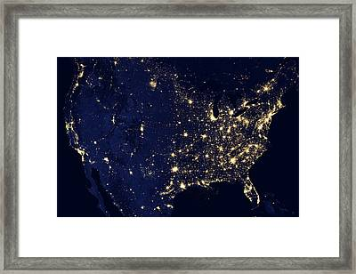 North America At Night Framed Print