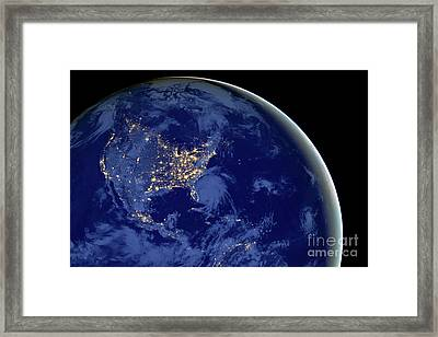 North America From Space Framed Print by Delphimages Photo Creations