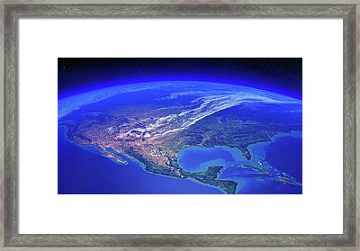 North America Seen From Space Framed Print by Johan Swanepoel