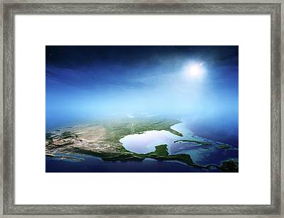 North America Sunrise Aerial View Framed Print by Johan Swanepoel