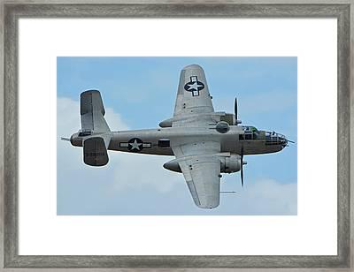 Framed Print featuring the photograph North American B-25j Mitchell N9856c Pacific Princess Chino California April 30 2016 by Brian Lockett