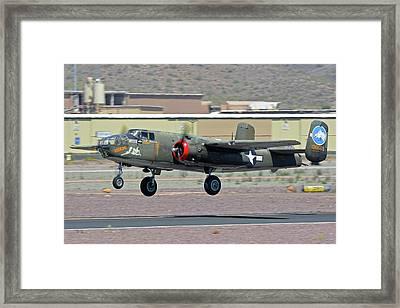 Framed Print featuring the photograph North American B-25j Mitchell Nl3476g Tondelayo Deer Valley Arizona April 13 2016 by Brian Lockett