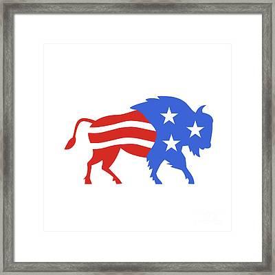 North American Bison Usa Flag Retro Framed Print