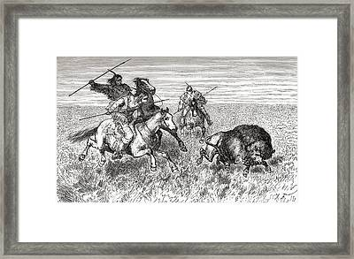 North American Indians Hunting Buffalo Framed Print