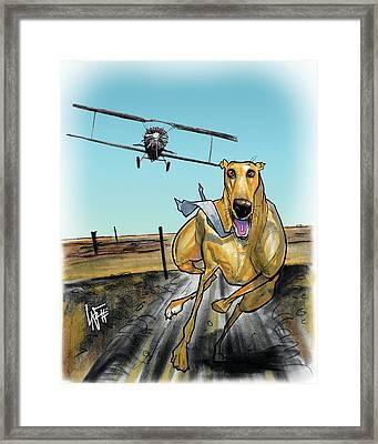 North By Northwest Greyhound Caricature Art Print Framed Print by John LaFree