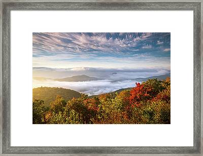 North Carolina Autumn Sunrise Blue Ridge Parkway Fall Foliage Nc Mountains Framed Print by Dave Allen