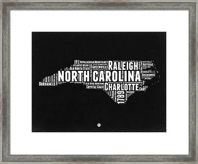 North Carolina Black And White Word Cloud Map Framed Print