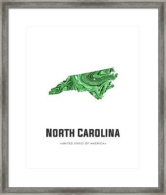 North Carolina Map Art Abstract In Green Framed Print