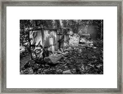 North Carolina Moonshine Still In Black And White Framed Print by Greg Mimbs