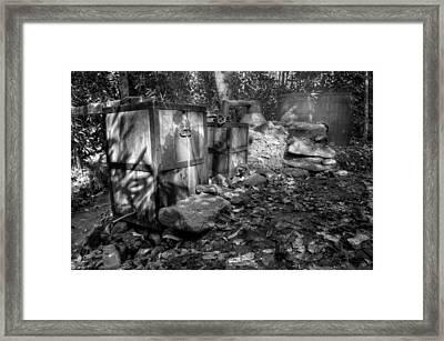 North Carolina Moonshine Still In Black And White Framed Print