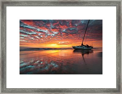 North Carolina Outer Banks Cape Hatteras National Seashore Shipwreck Sunrise Framed Print by Mark VanDyke