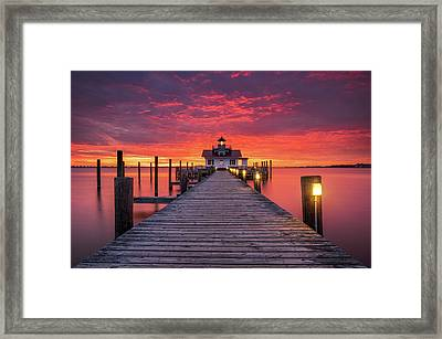 North Carolina Outer Banks Manteo Lighthouse Obx Nc Framed Print by Dave Allen