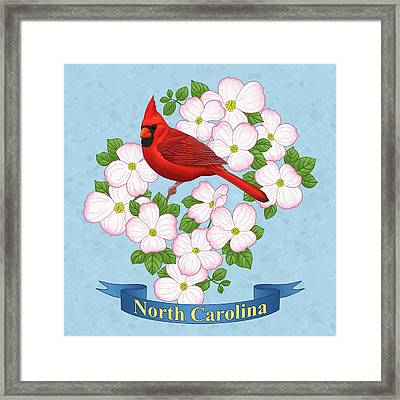 North Carolina State Bird And Flower Framed Print by Crista Forest