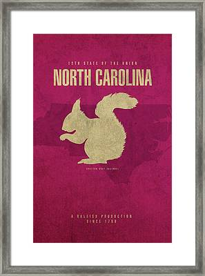 North Carolina State Facts Minimalist Movie Poster Art Framed Print