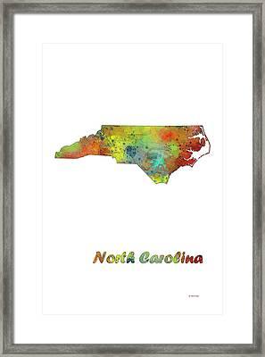 North Carolina  State Map Framed Print by Marlene Watson