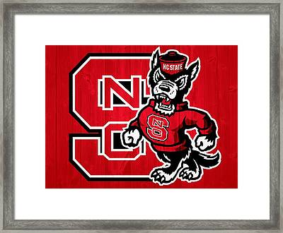 North Carolina State Wolfpack Barn Door Framed Print by Dan Sproul