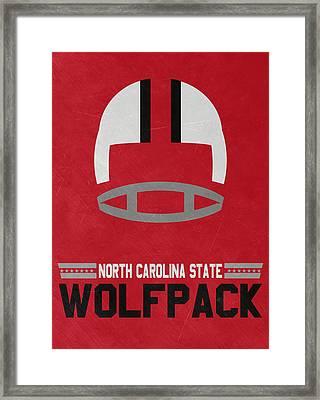North Carolina State Wolfpack Vintage Football Art Framed Print by Joe Hamilton