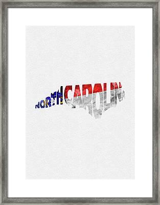 North Carolina Typographic Map Flag Framed Print