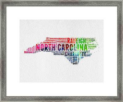North Carolina Watercolor Word Cloud Map Framed Print