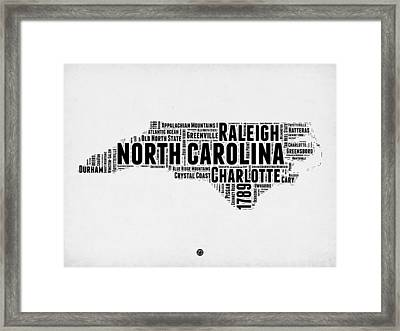 North Carolina Word Cloud Map 2 Framed Print