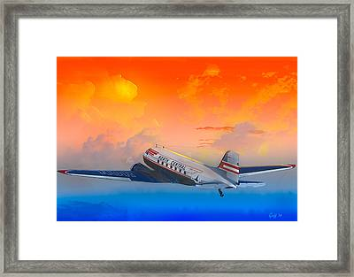 North Central Dc-3 At Sunrise Framed Print