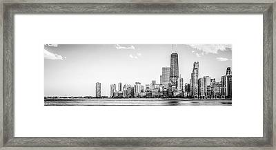 North Chicago Skyline Panorama In Black And White Framed Print