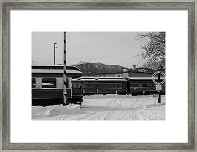 North Conway Nh Scenic Railroad Black And White Framed Print by Toby McGuire