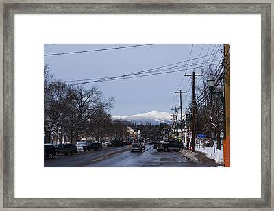North Conway Winter Mountains Downtown Framed Print by Toby McGuire