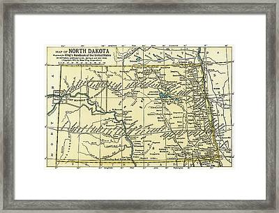 North Dakota Antique Map 1891 Framed Print