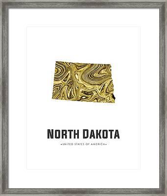 North Dakota Map Art Abstract In Golden Brown Framed Print