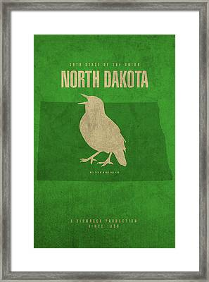 North Dakota State Facts Minimalist Movie Poster Art Framed Print by Design Turnpike
