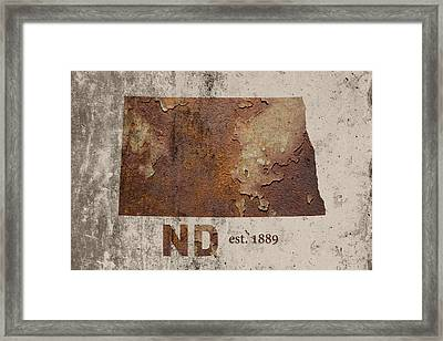 North Dakota State Map Industrial Rusted Metal On Cement Wall With Founding Date Series 025 Framed Print by Design Turnpike