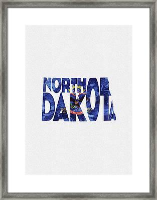 North Dakota Typographic Map Flag Framed Print