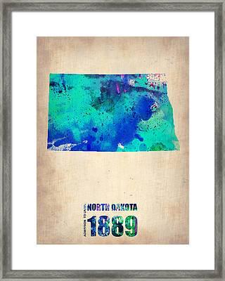 North Dakota Watercolor Map Framed Print by Naxart Studio