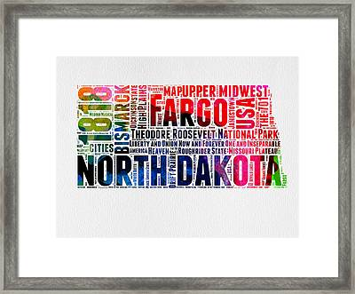 North Dakota Watercolor Word Cloud  Framed Print by Naxart Studio
