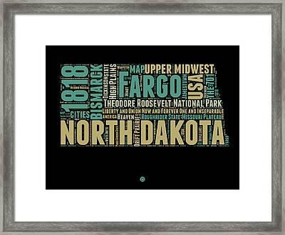North Dakota Word Cloud 1 Framed Print by Naxart Studio