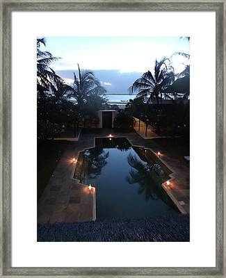 North - Eastern African Home - Sundown Over The Swimming Pool Framed Print