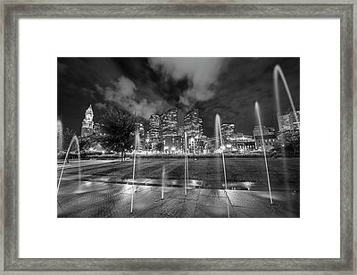 North End Park Fountains Boston Ma Black And White Framed Print