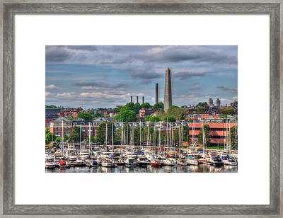 North End Waterfront Marina And Bunker Hill Monument - Boston Framed Print