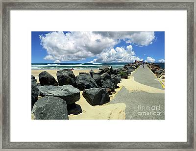 North Haven Breakwater Walkway By Kaye Menner Framed Print