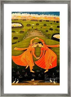 North India Dancers By Pahari Of Rajasthan 1800 Framed Print