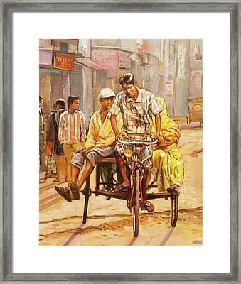 North India Street Scene  Detail View Framed Print by Dominique Amendola