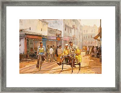 North India Street Scene Framed Print by Dominique Amendola