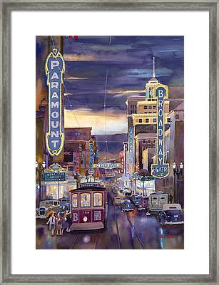 North On Broadway 1940 Framed Print by Mike Hill